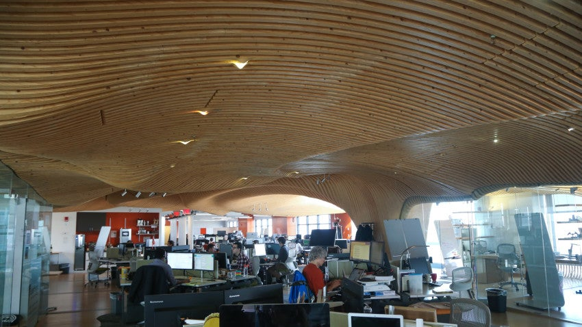 Rapid7 staffers said their office's cool ceiling was built by a hedge fund that went bust, leaving their fine architectural taste behind.