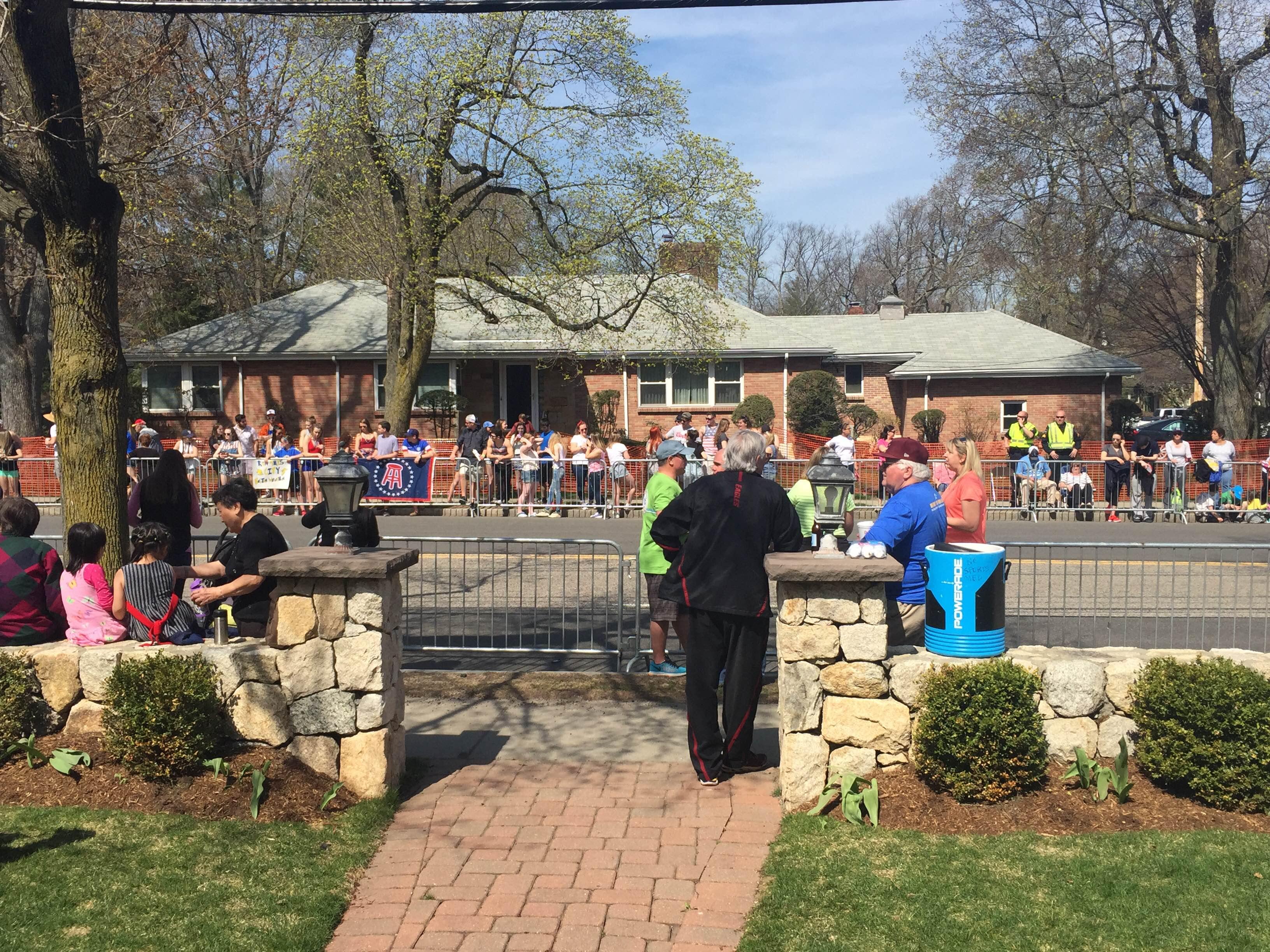The view of the Boston Marathon route from Alison Foley's house in Newton, where she hosts an annual marathon party.