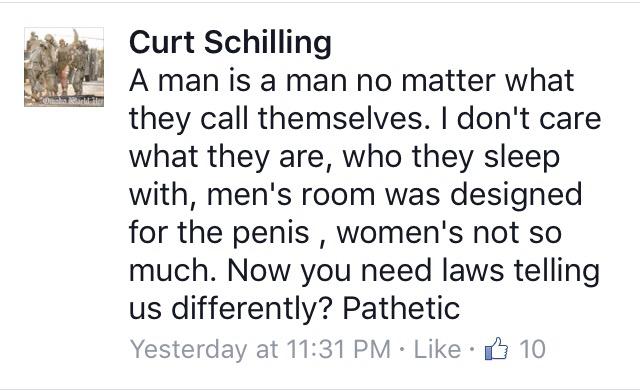 Curt Schilling Facebook comment on transgender rights meme