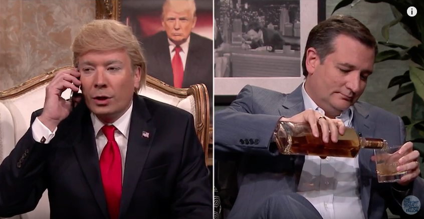 Jimmy Fallon as Donald Trump interviewing Ted Cruz on The Tonight Show