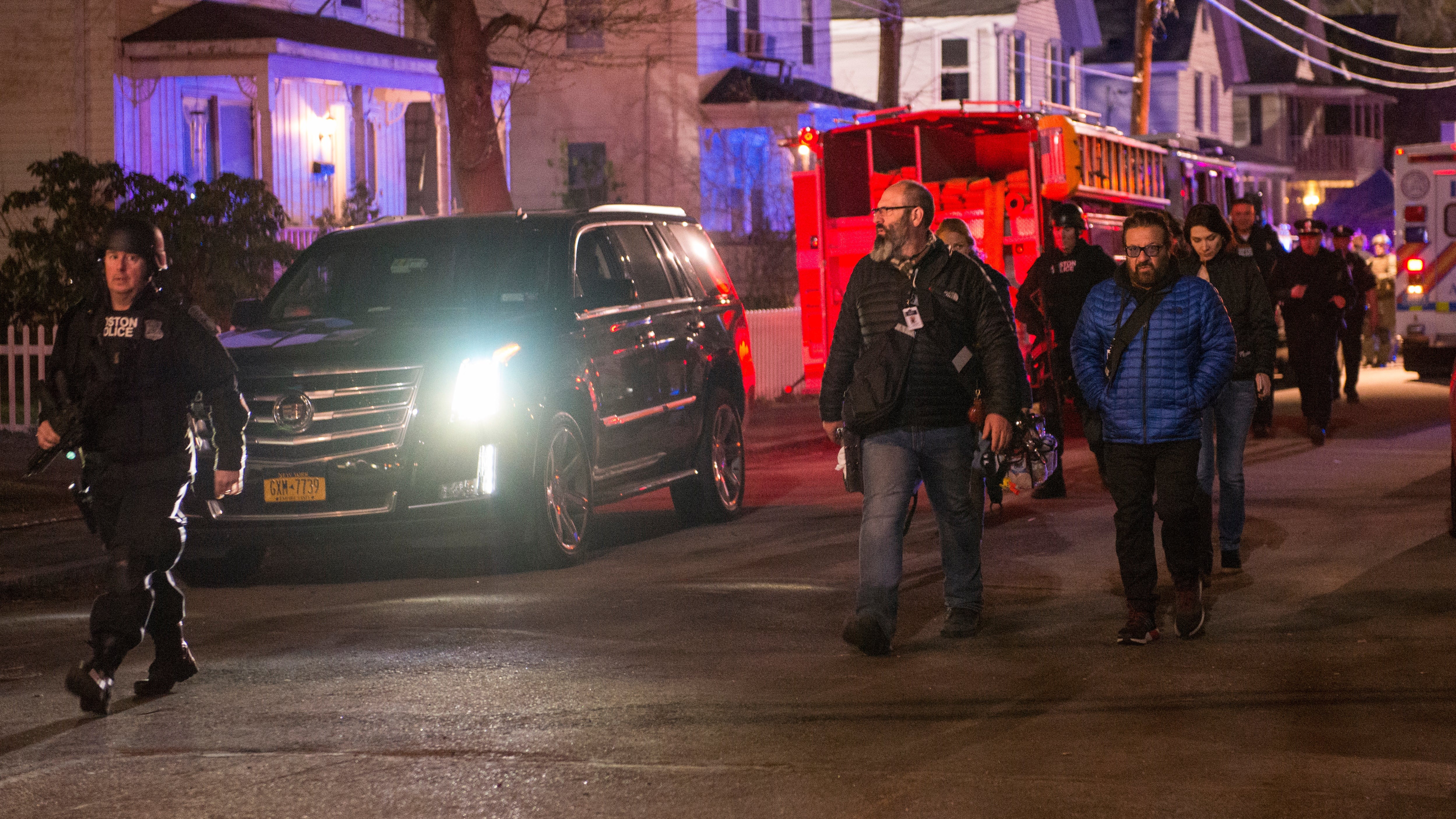 Patriots Day cast and crew leave the set after wrapping up filming for the third and final night on Harrison Street in Framingham early in the morning on April 22, 2016. Photo by Jim Tuttle