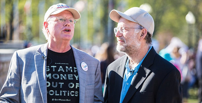 Ben Cohen and Jerry Greenfield, co-founders of Ben & Jerry's ice cream, were arrested Monday on the U.S Capitol Building steps as part of pro-democracy demonstrations.