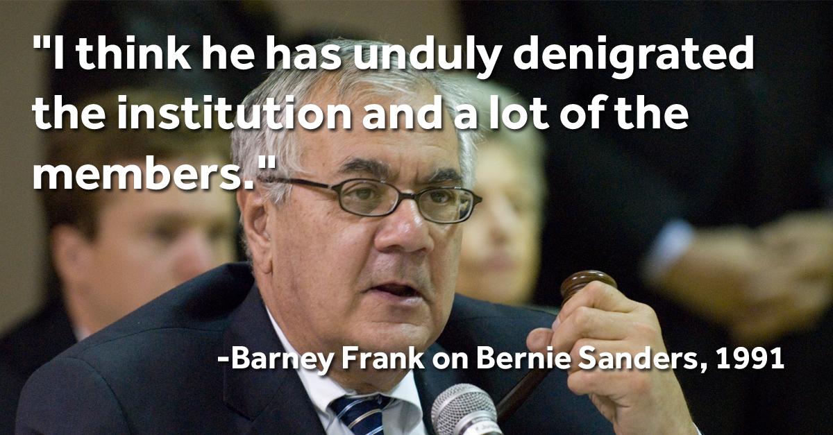 Barney Frank on Bernie Sanders.