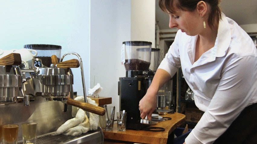 Manager Brittany Lajoie made a latte at Barrington Coffee Roasting Company in Boston.