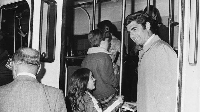 Former Gov. Michael Dukakis aboard the Green Line in 1975.