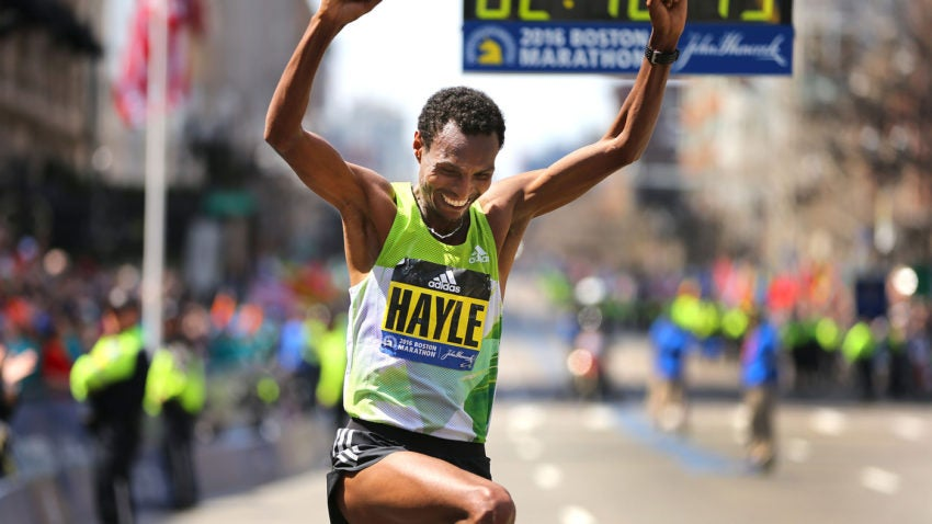 Boston-4/18/16- The finish line at the Boston Marathon. Mens winner Lemi Berhanu Hayle jumps after he crosses the finish line.Boston Globe staff Photo by John Tlumacki (sports)