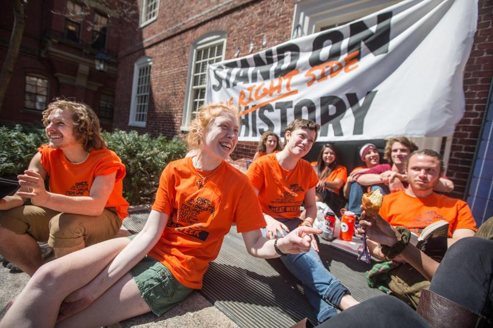 Members of Divest Harvard blocked the entrance to an administration building on Harvard's campus during last year's heat week.