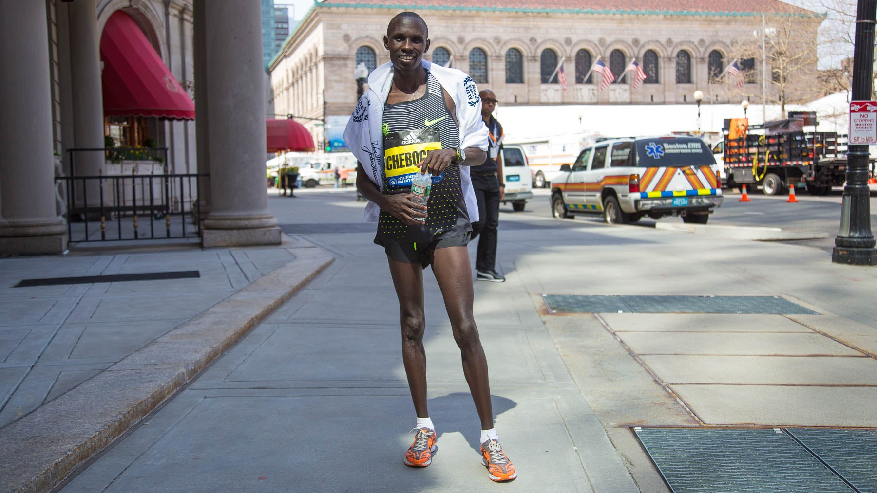"""""""It's my first time in Boston. I've run 14 marathons, but I've never run a hard course like this -- those hills."""""""