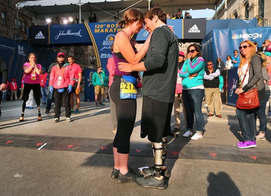 Erin Bauman, the wife of Boston Marathon bombing survivor, Jeffrey Bauman crossed the finish line around 5:20 p.m. It was her first marathon since 2013 when she ran, and her husband came to see her finish. She never finished in 2013 and the first bomb near the finish line blew off Bauman's legs.