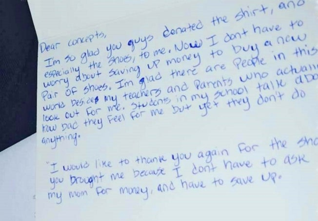 Amir Taste, 13, wrote this letter to Concepts to thank them for the sneakers.