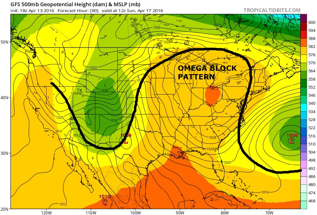 Jet stream omega block pattern