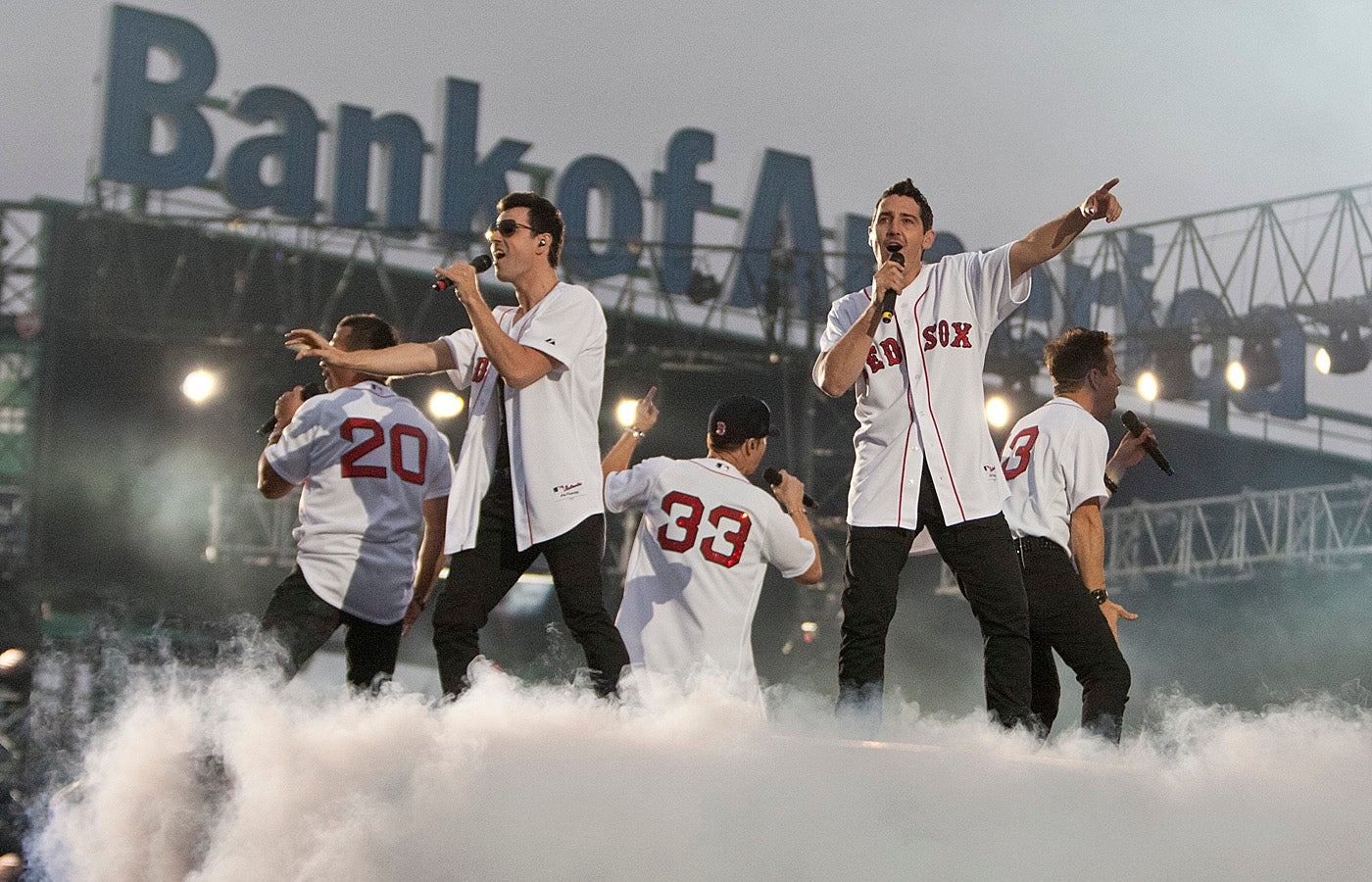 BOSTONGLOBE.COM FENWAY SLIDER Boston, MA 6/11/11 The New Kids on the Block performing with the Backstreet Boys (NKOTBSB) at Fenway Park on Saturday June 11, 2011. (Matthew J. Lee/Globe staff) slug: 12nkotbsb Section: living reporter: Christopher Muther -- 21ticketpop