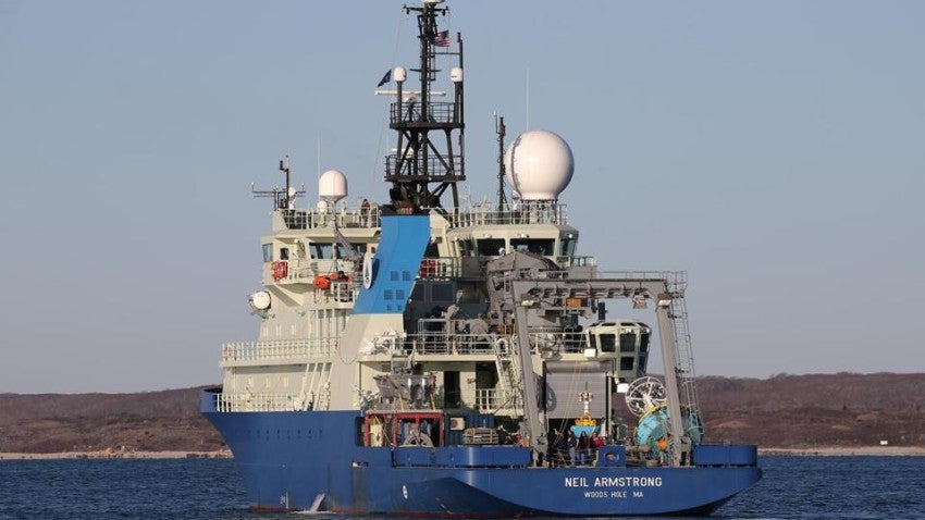 Navy research vessel arrives to its new home in Woods Hole