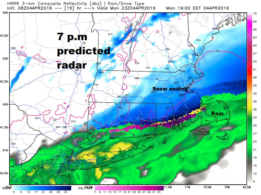 Predicted Radar 7 p.m. Monday