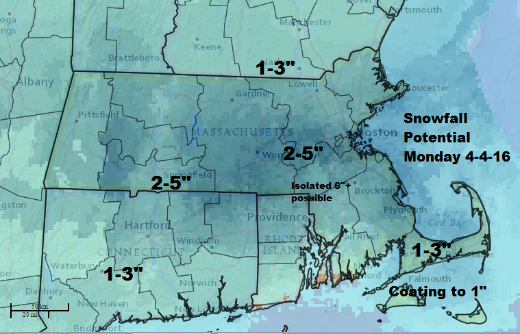 Expected Snow Monday April 4th 2016