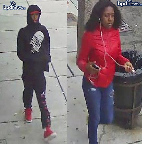 Boston police are looking for this man and woman in connection with a stabbing.