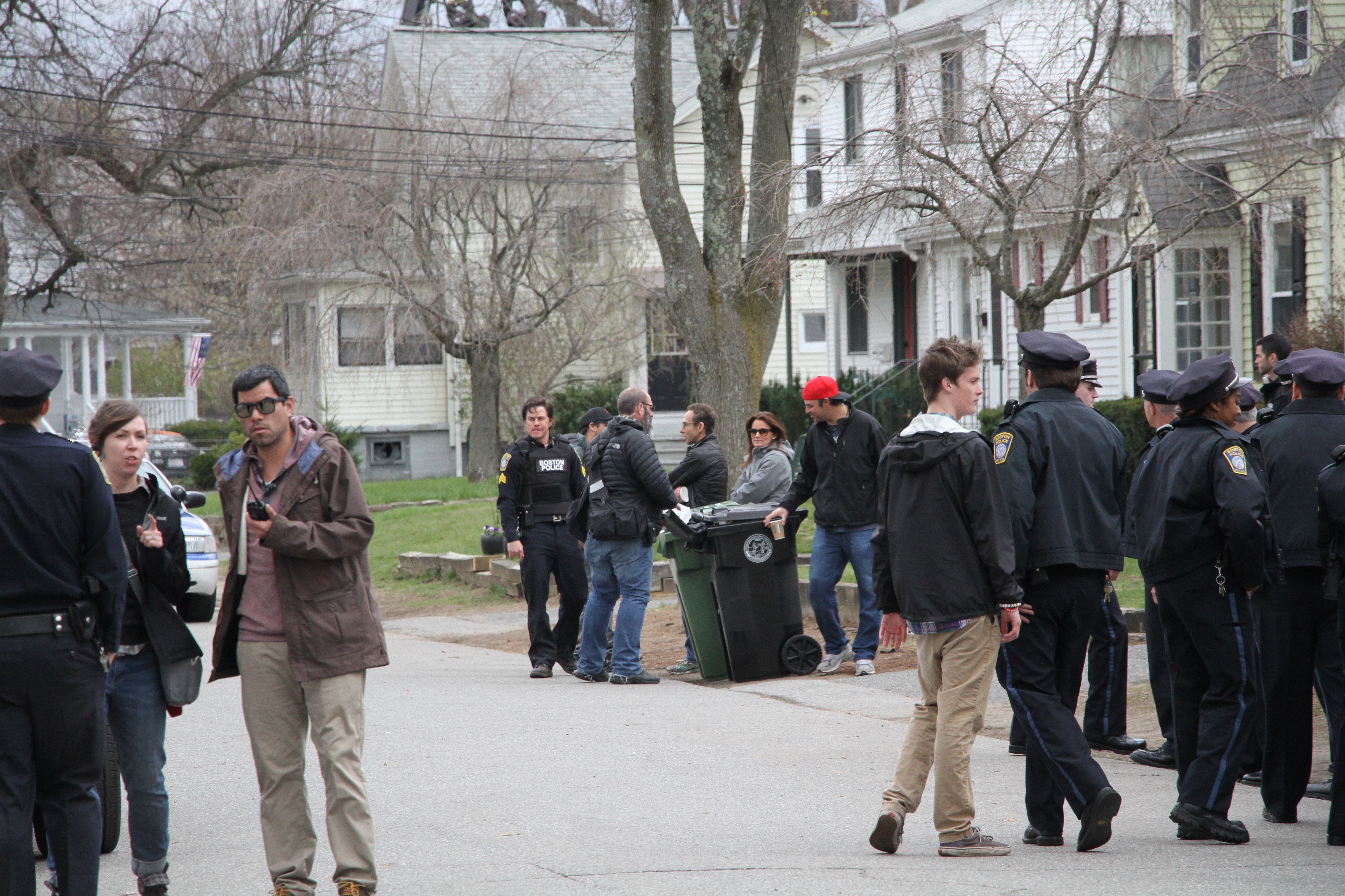 Mark Wahlberg on a Framingham set for his film Patriots Day.