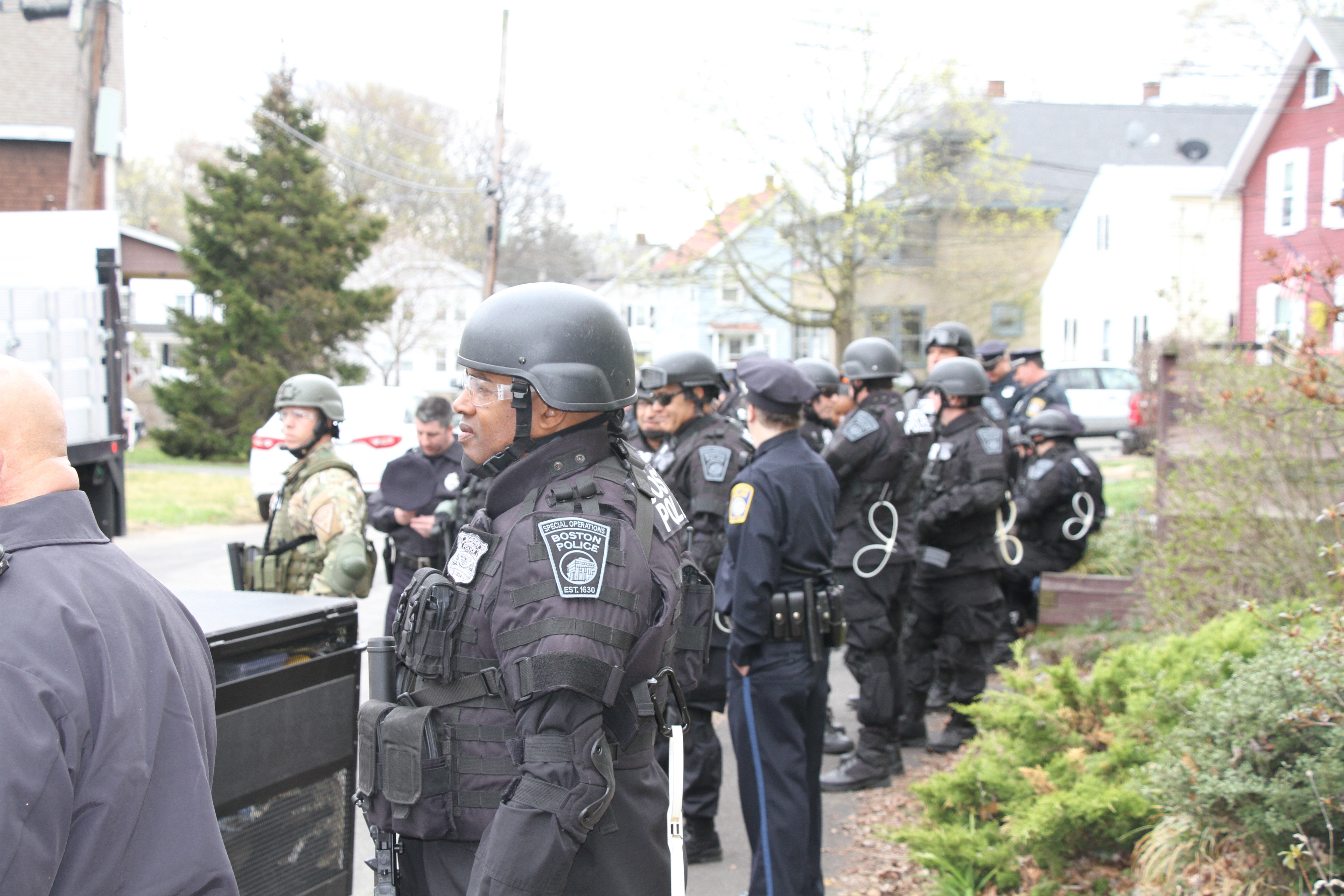 Filming for Patriots Day in Framingham.