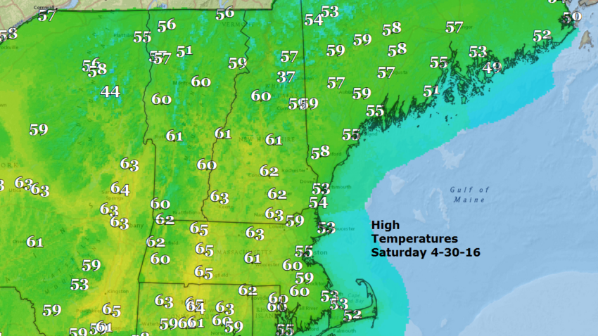 The High temperatures for Saturday
