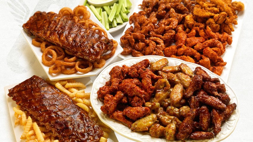 A selection of menu items from Wings Over.