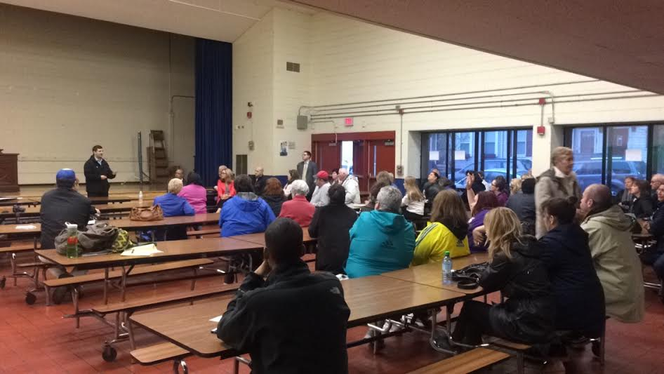 South Boston residents gathered in the Tynan Elementary School cafeteria Monday night to voice their opinions on the proposed Starbucks.