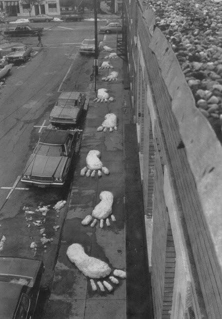 Snowy footprints on Railroad Street in Great Barrington, Massachusetts on May 11, 1977.