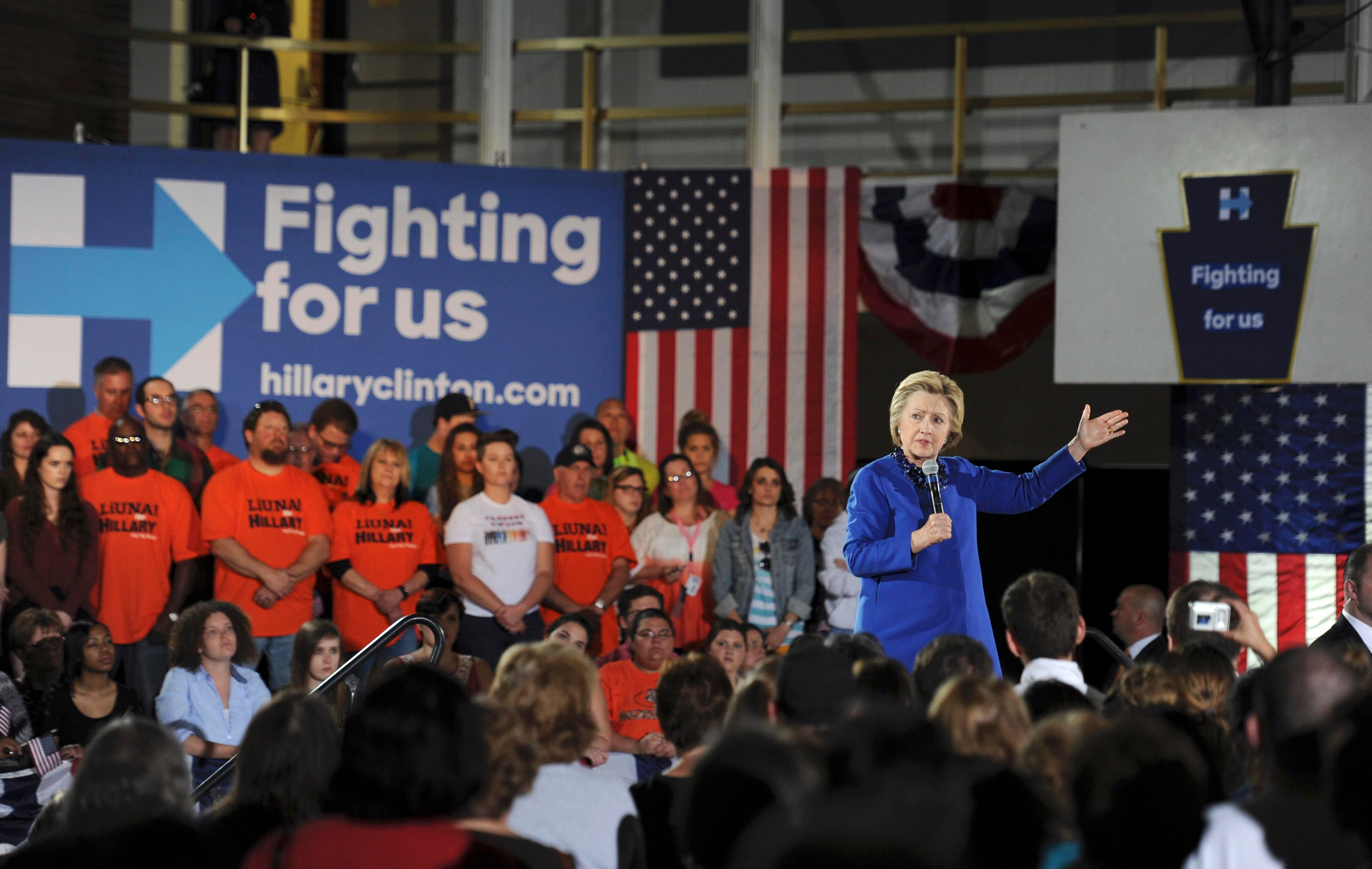 Democratic U.S. presidential candidate Hillary Clinton speaks during a campaign rally at Westmoreland County Community College in Youngwood, Pennsylvania, U.S., April 25, 2016. REUTERS/Louis Ruediger EDITORIAL USE ONLY. NO RESALES. NO ARCHIVE