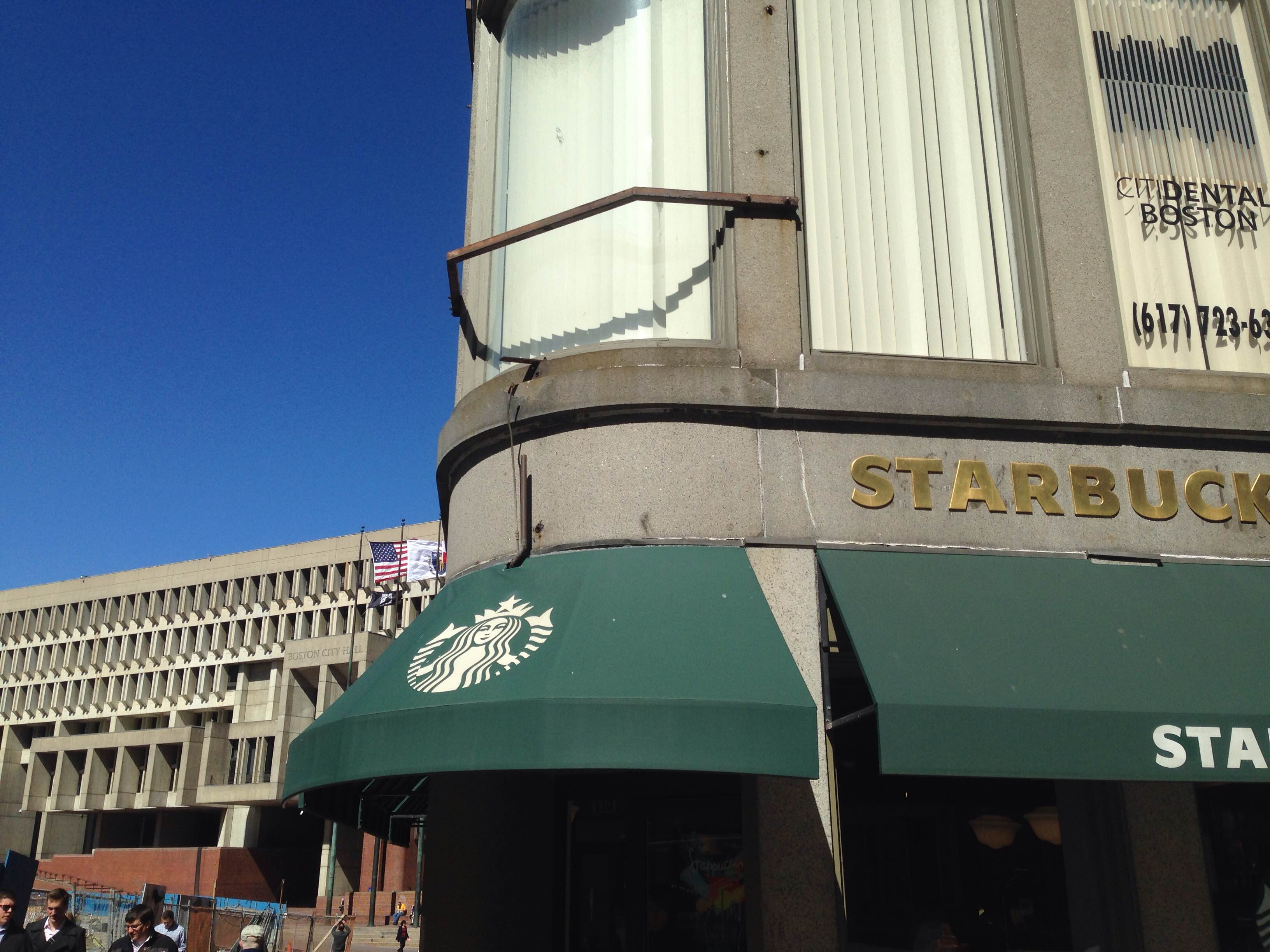 The spot above the Court Street Starbucks where the Steaming Tea Kettle sat is now empty.