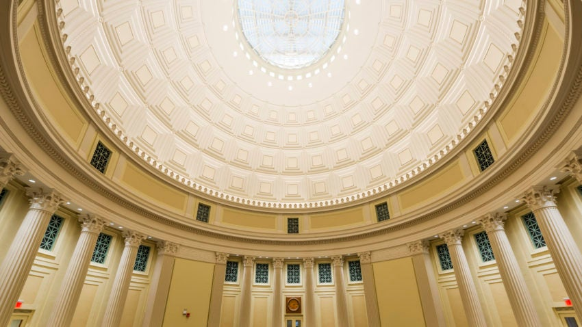 """Shawmut's preservation work on MIT's Great Dome and Barker Library addressed """"color, light, and sound as early 20th-century craft met 21st-century technology."""" Shawmut did interior restoration, and put a weather skylight atop the dome."""