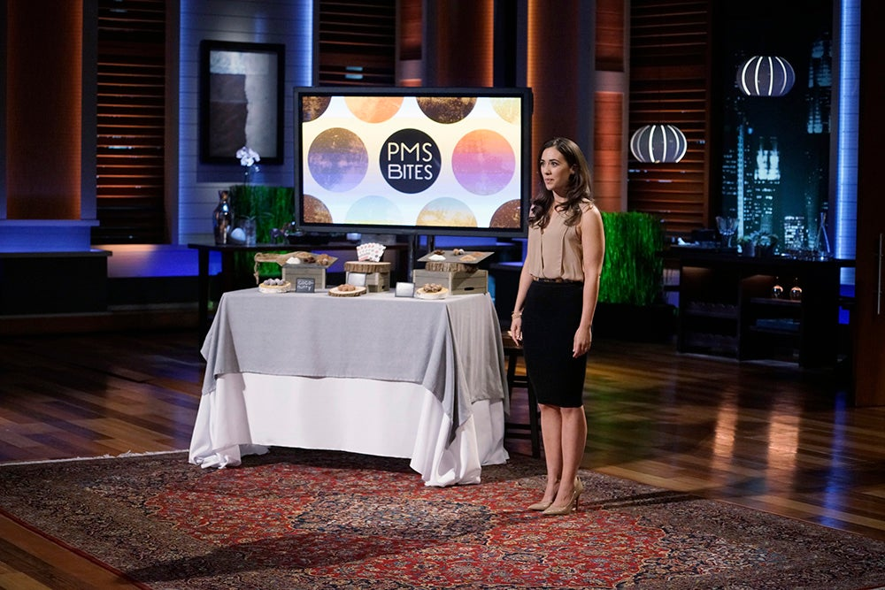"""SHARK TANK - """"Episode 726"""" - A woman from Boston, Massachusetts, hopes the Sharks will make a deal and sink their teeth into her chocolate treats that are perfect for women who want to satisfy cravings; a season four entrepreneur from Aeworth, Georgia, returns for a second chance to pitch the Shark's his new business, a line of men's hair products; a man from Telluride, Colorado, who is desperate for capital, plans to warm the Sharks' hearts with an app that allows users to electronically send handwritten cards; and a man from Boston, Massachusetts, believes he has created a unique way to break bad habits with self-zapping wristbands. Also, recaps and updates featuring the various entrepreneurs that appeared during season seven, on """"Shark Tank,"""" FRIDAY, MAY 20 (9:00-10:01 p.m. EDT), on the ABC Television Network. (ABC/Michael Desmond) TANIA GREEN (PMS BITES)"""