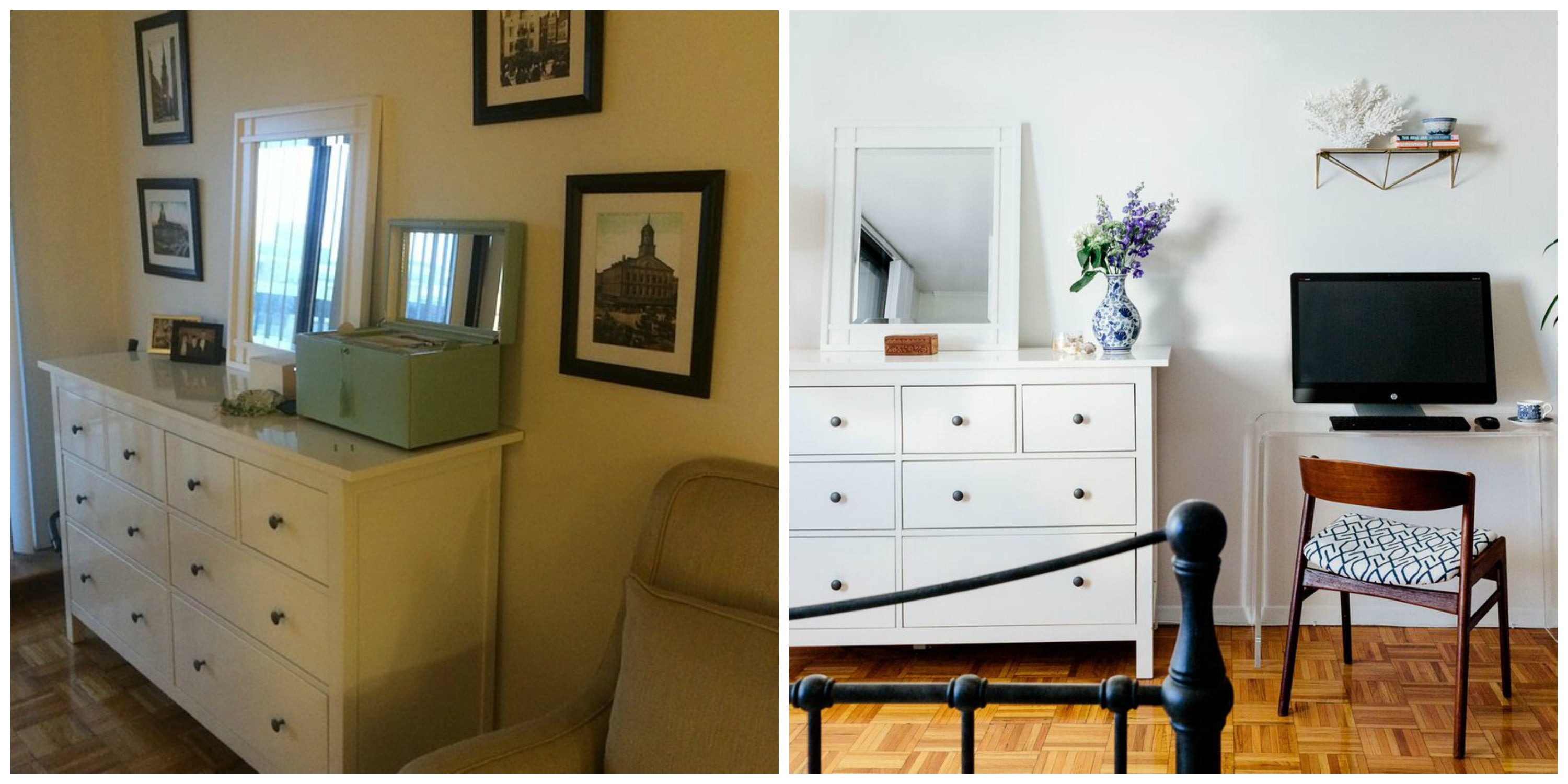Sometimes, you don't need new everything. Here, the clients dresser stays the same but looks different in a newly-designed space.