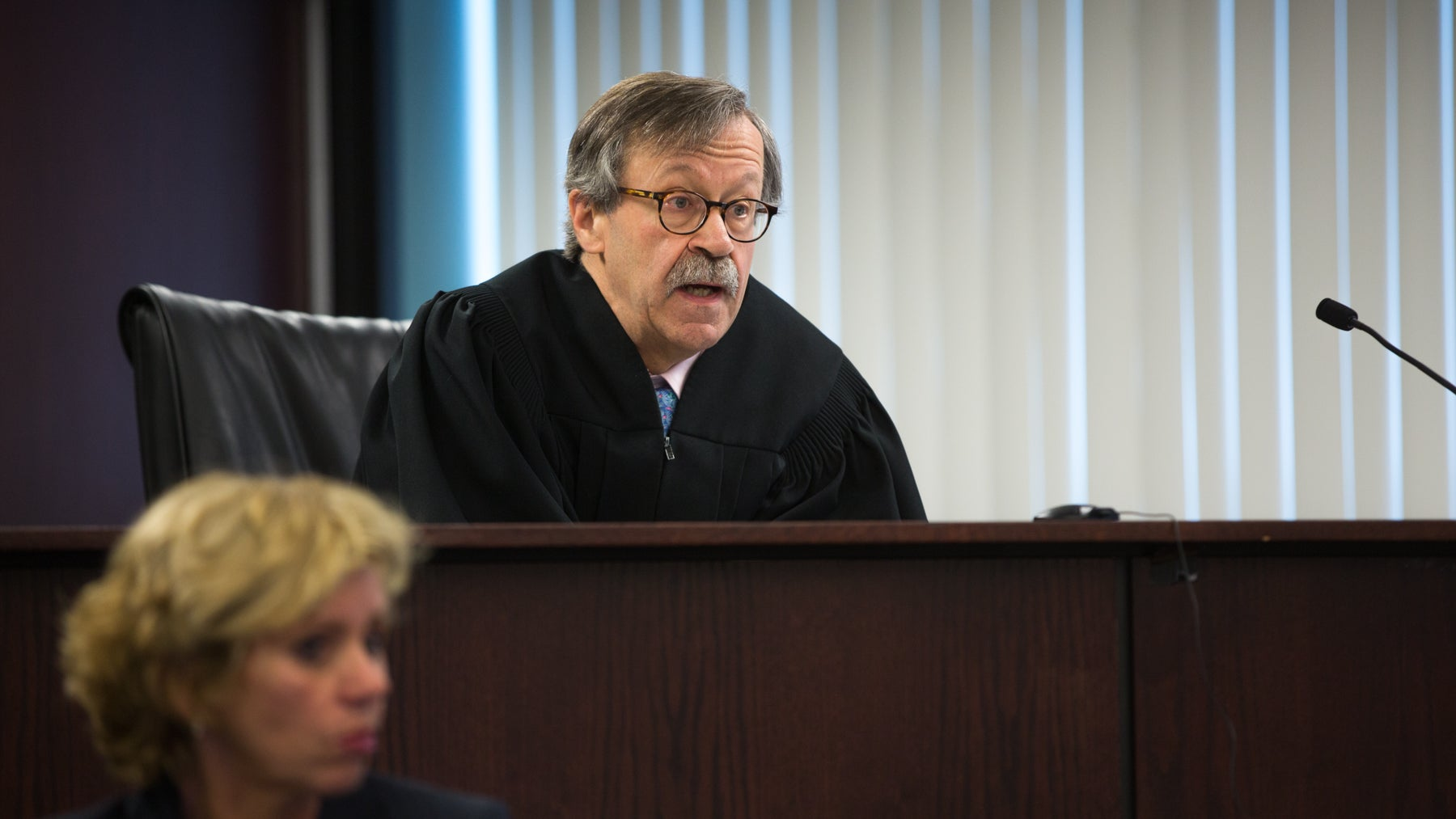 Judge Thomas Billings speaks from the bench about the case of Jay Procopio. Billings will have to decide whether to dismiss the first-degree murder charges against Procopio.