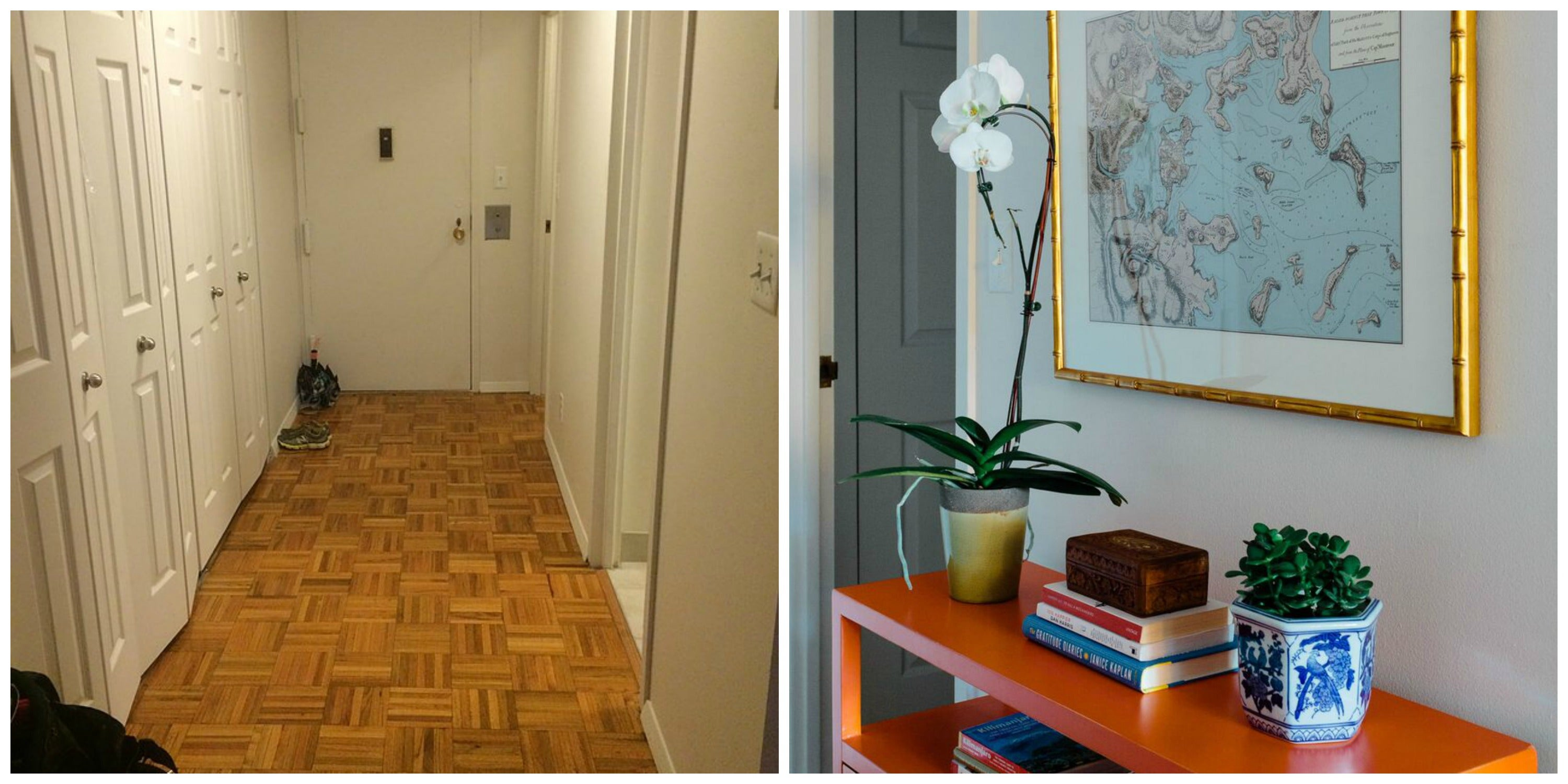 A bright console can turn even the narrowest of hallways into its own space.