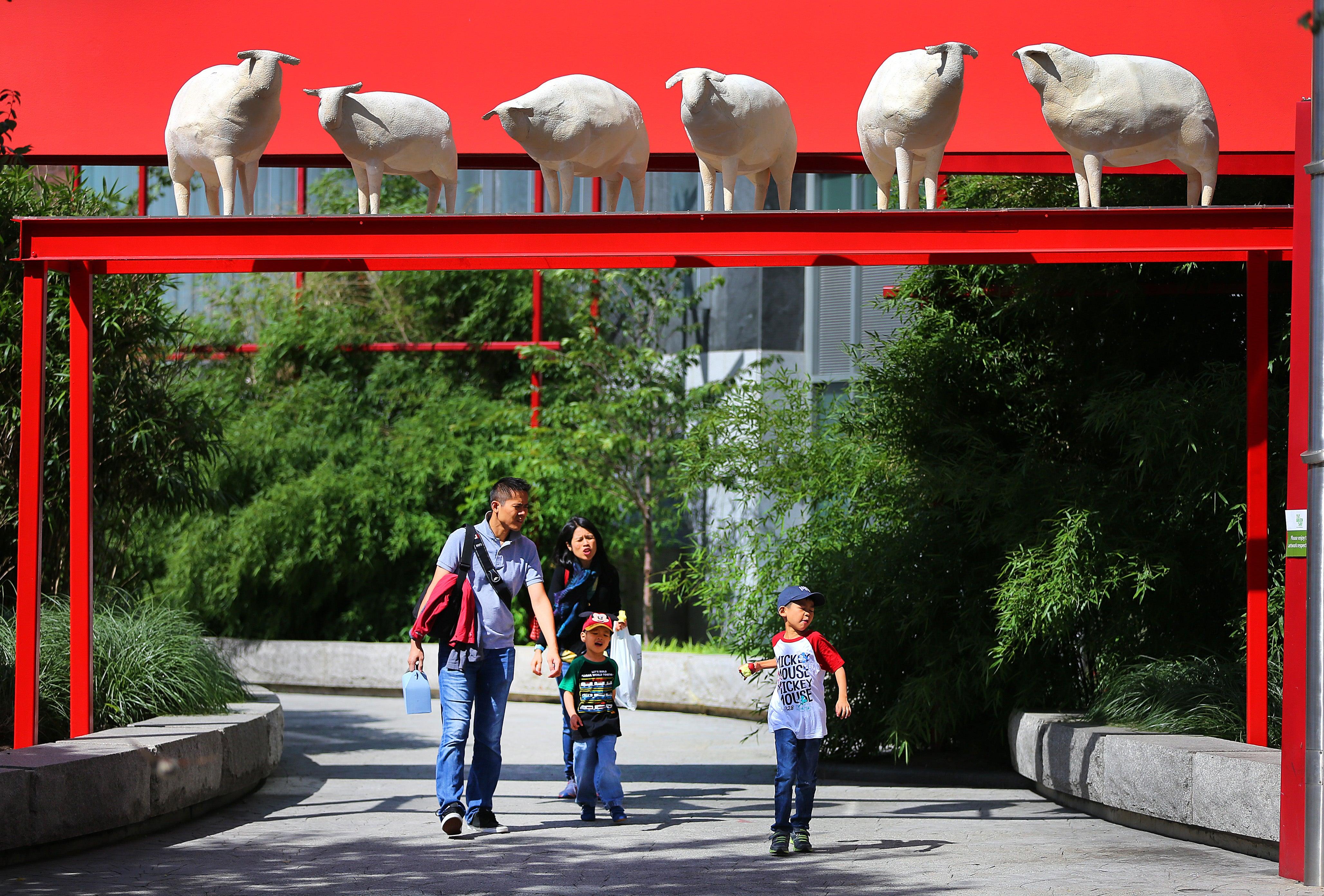 Boston--07/25/15 The Chinatown Wandering Sheep sculpture at Chinatown Park.Globe staff photo by (arts)
