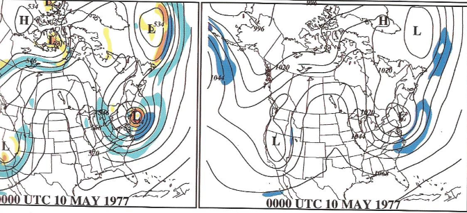 Upper level features for May 1977 snowstorm