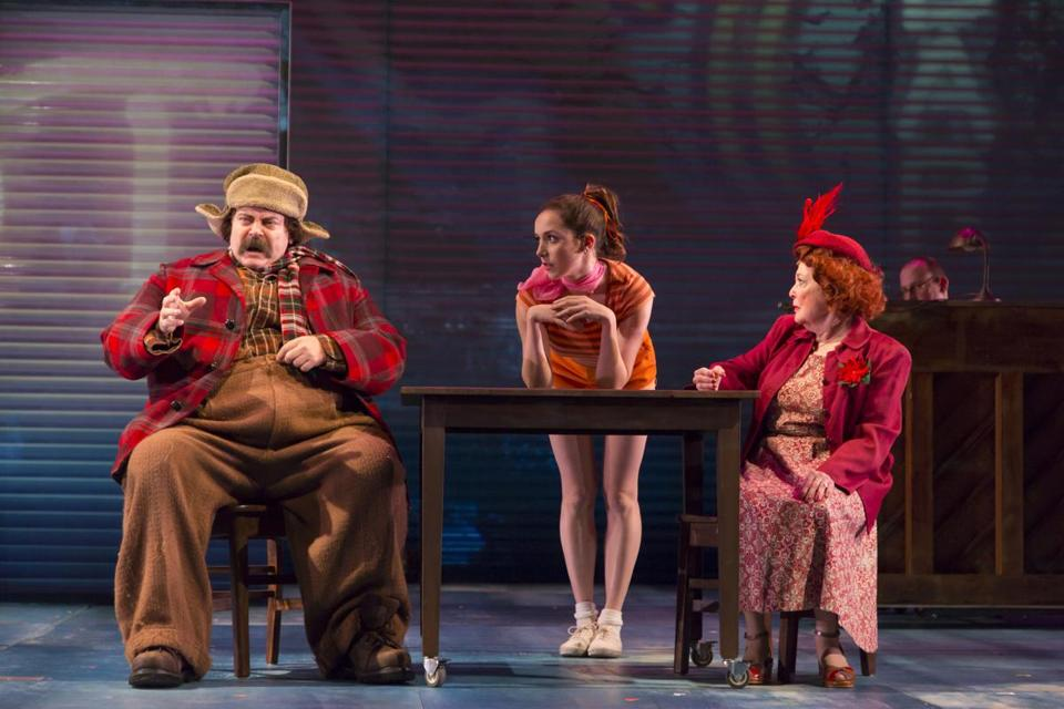 """Nick Offerman, Talene Monahon, and Anita Gillette star in the Huntington Theatre Company's """"A Confederacy of Dunces"""" in 2015."""