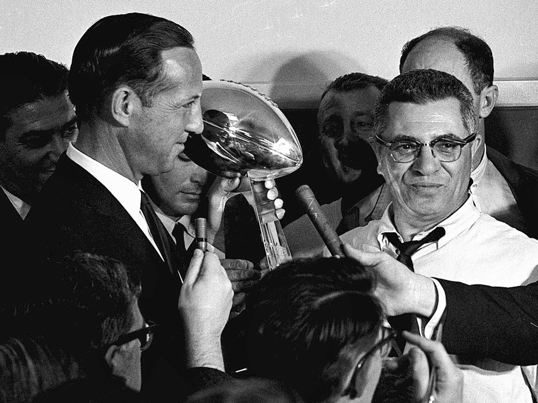 Pete Rozelle, not Al Davis, became the first commissioner of the merged leagues. He would preside over the first Super Bowl, won by Vince Lombardi's Packers.