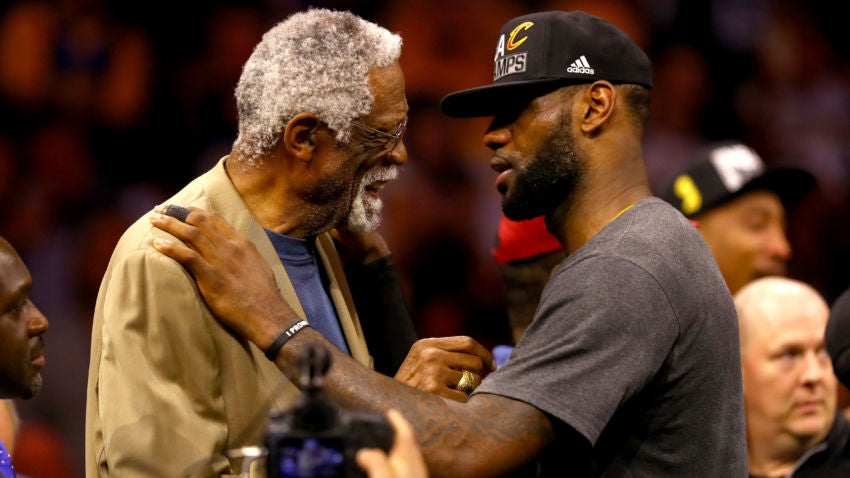 LeBron James shares triumphant moment with Bill Russell ...