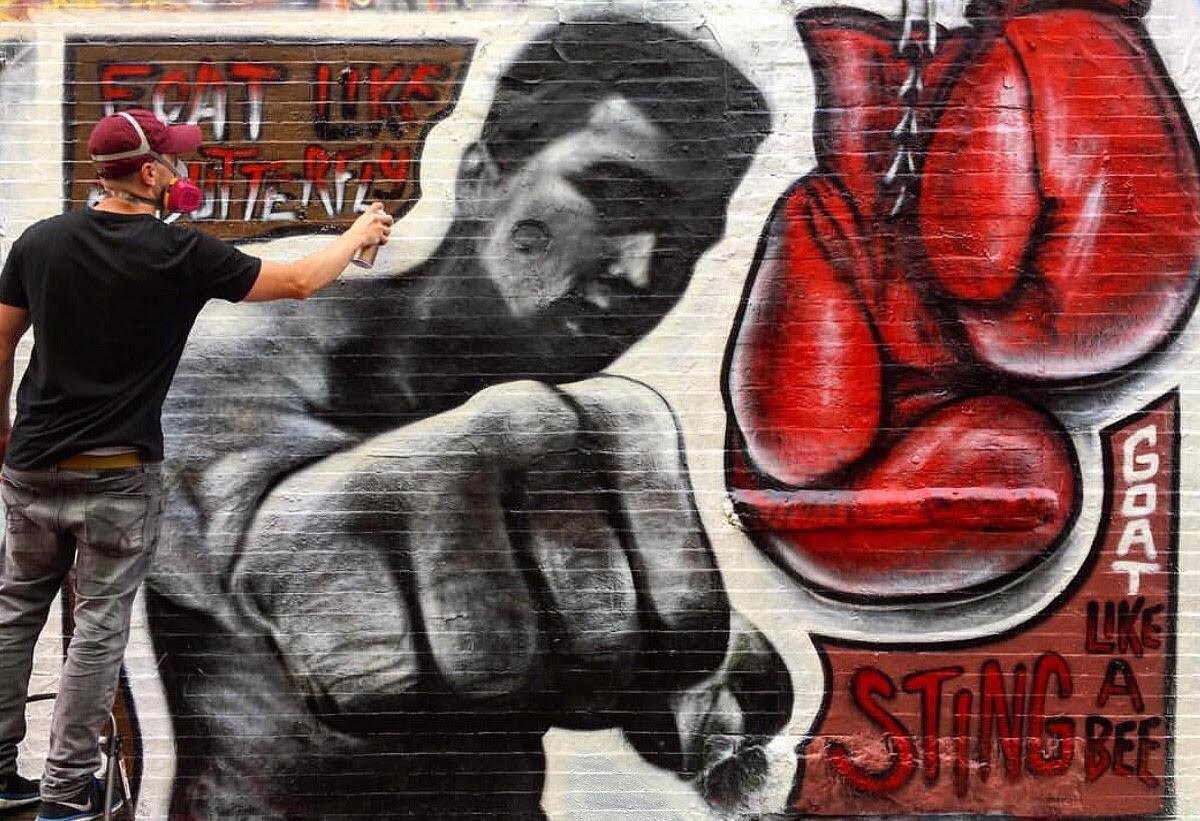 Muhammad Ali mural in Central Square.