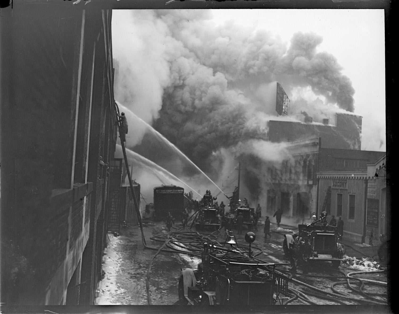 Fire crews battle the January blaze in Fenway's left-field corner grandstand.