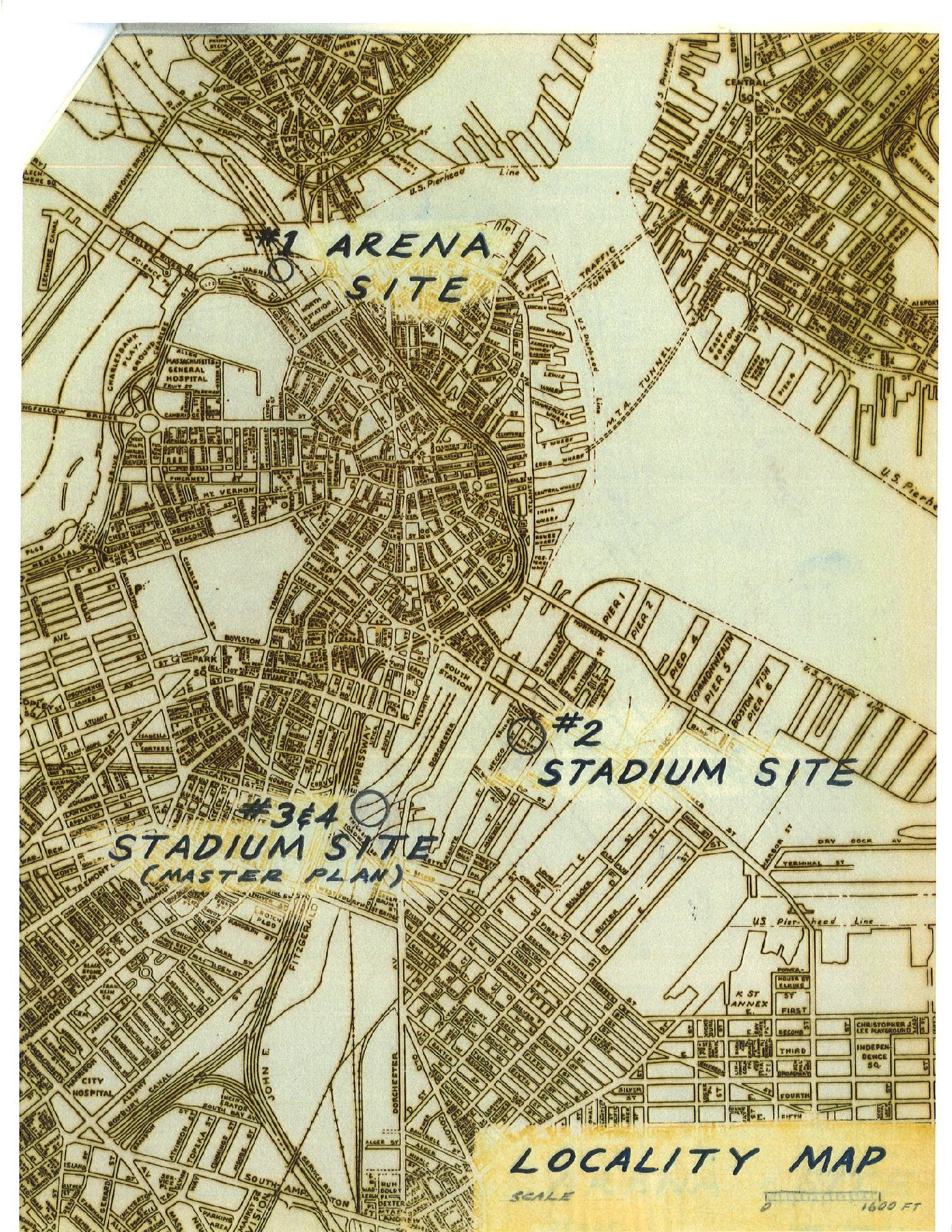 A map from the BRA's 1966 plan to replace the Boston Garden and build a football stadium near South Station.