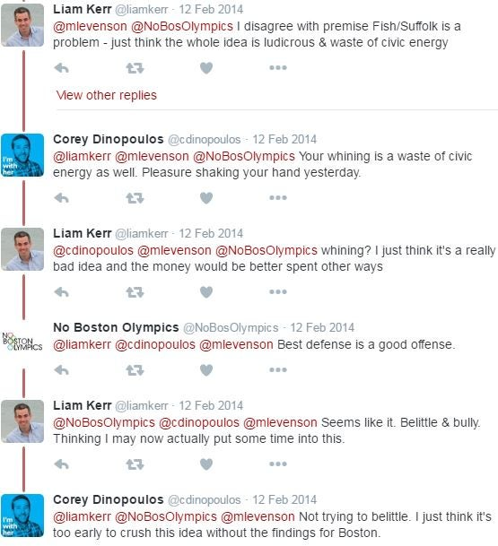 Liam Kerr and Corey Dinopoulos engage on Twitter.