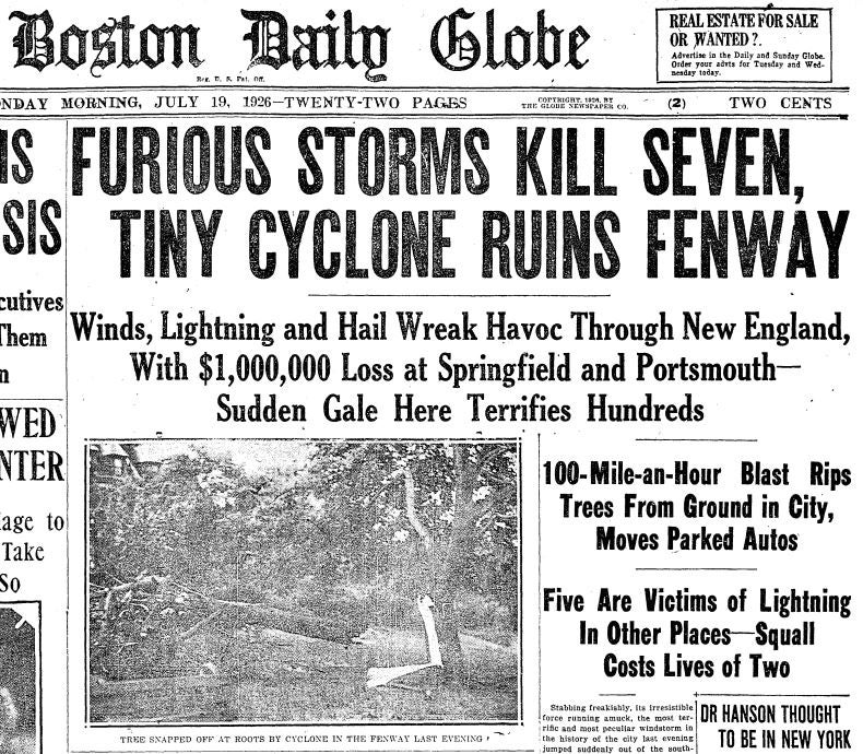 The Globe front page from July 19, 1926.