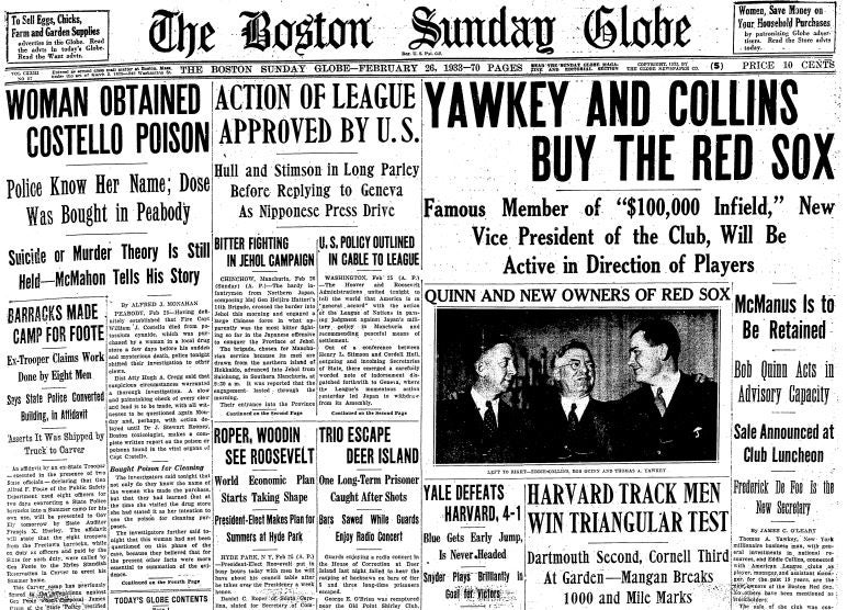 Tom Yawkey bankrolled the acquisition of the Red Sox in February, 1933.