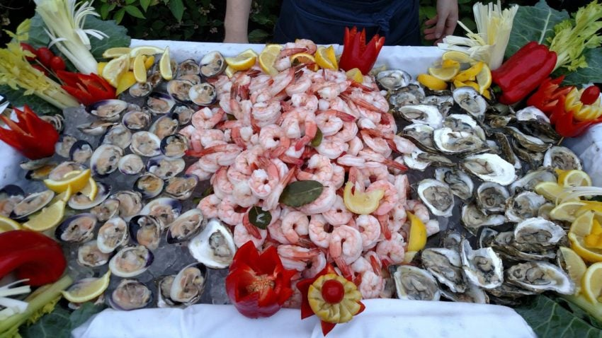 A shrimp and oyster spread from Lola's Martha's Vineyard.