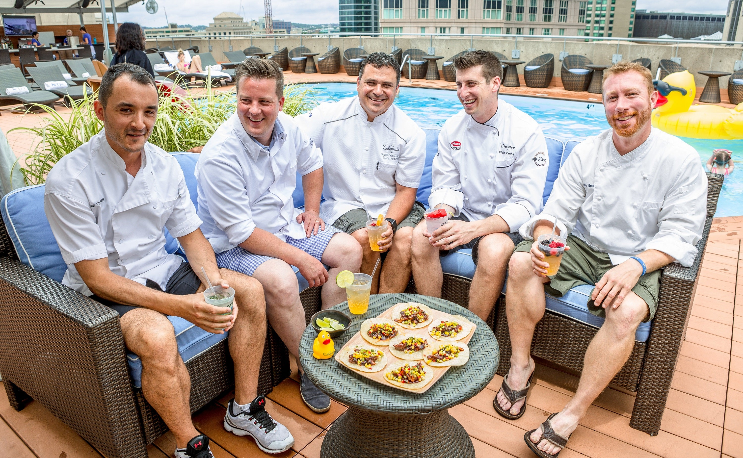 Allen Campbell, Matthew Gaudet, Nick Calias, Chris Coombs, and Evan Hennessy of the roofTOP Chefs series.
