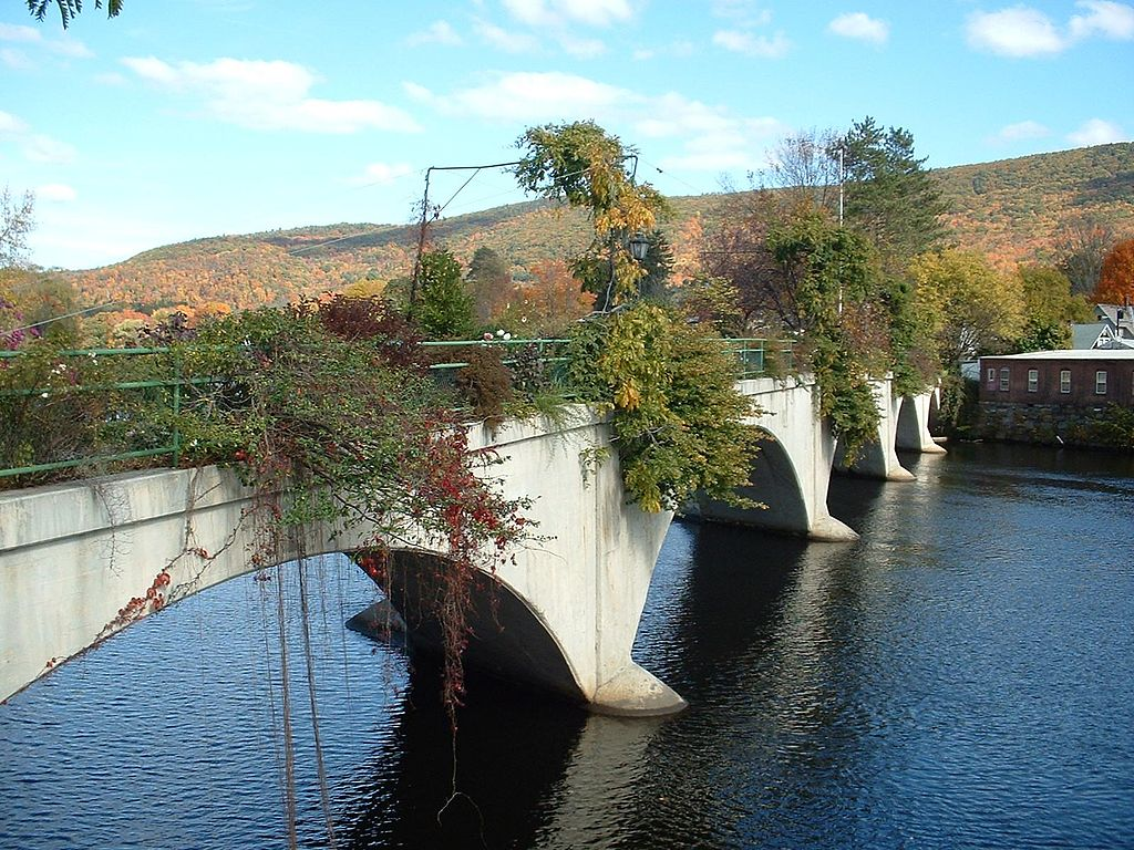 The Bridge of Flowers in Shelburne Falls is a 400-foot long bridge covered in flowers.