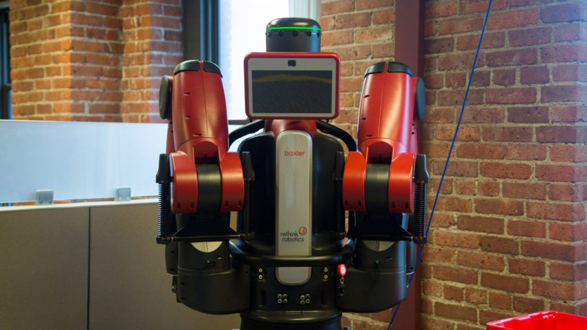 Baxter in the offices of Rethink Robotics.