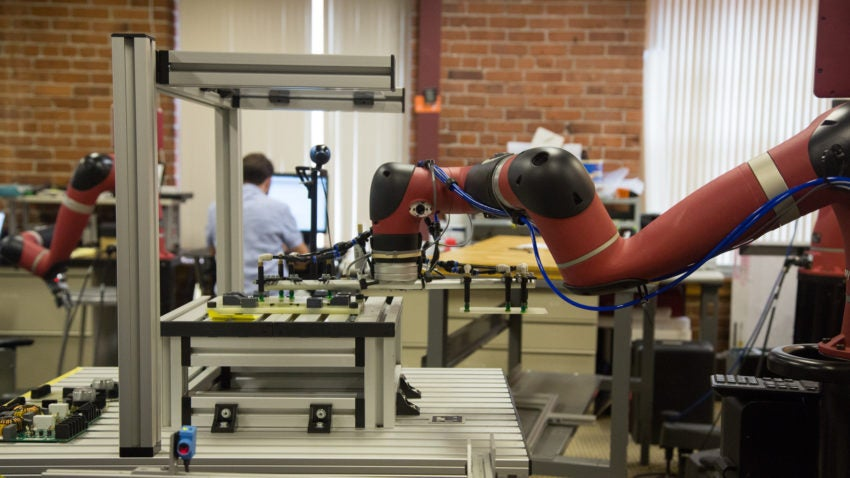 Sawyer performing a task at Rethink Robotics.