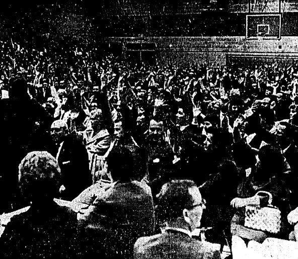 Foxboro residents vote on the stadium question during a town meeting in 1970.